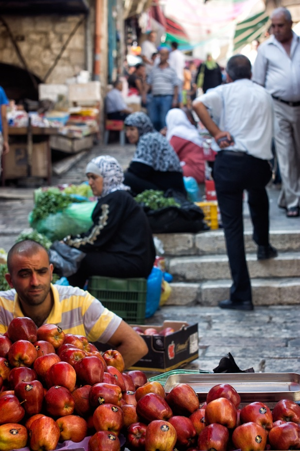 Market at Souq Khan al-zeit in the old City of Jerusalem