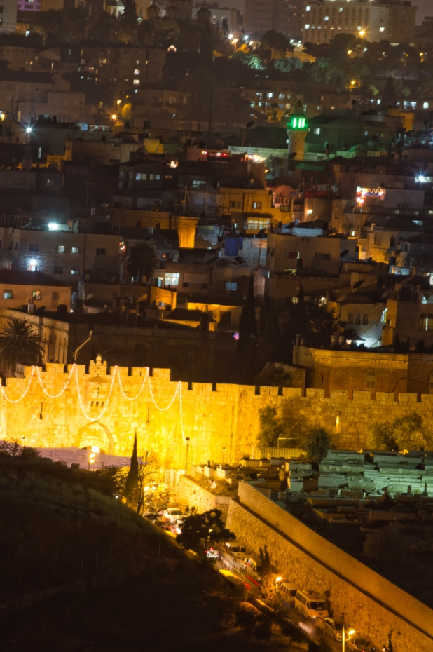 Lion's gate Jerusalem by night