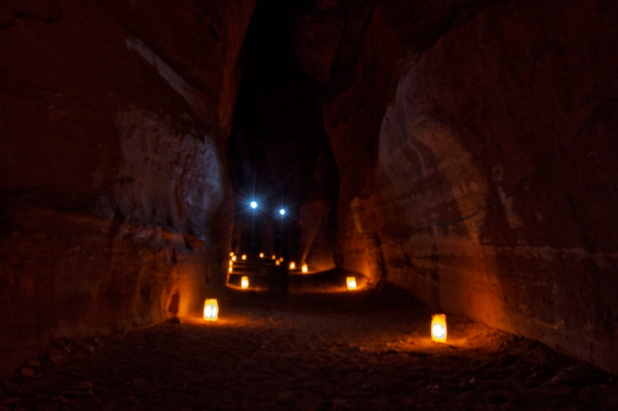 The Siq in the Petra by night