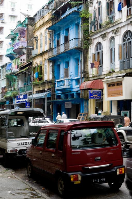 Street near the river in Yangon