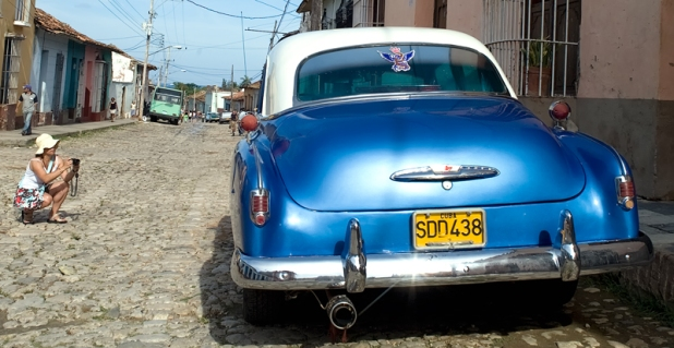 Classic American vintage car on the streets in Trinidad
