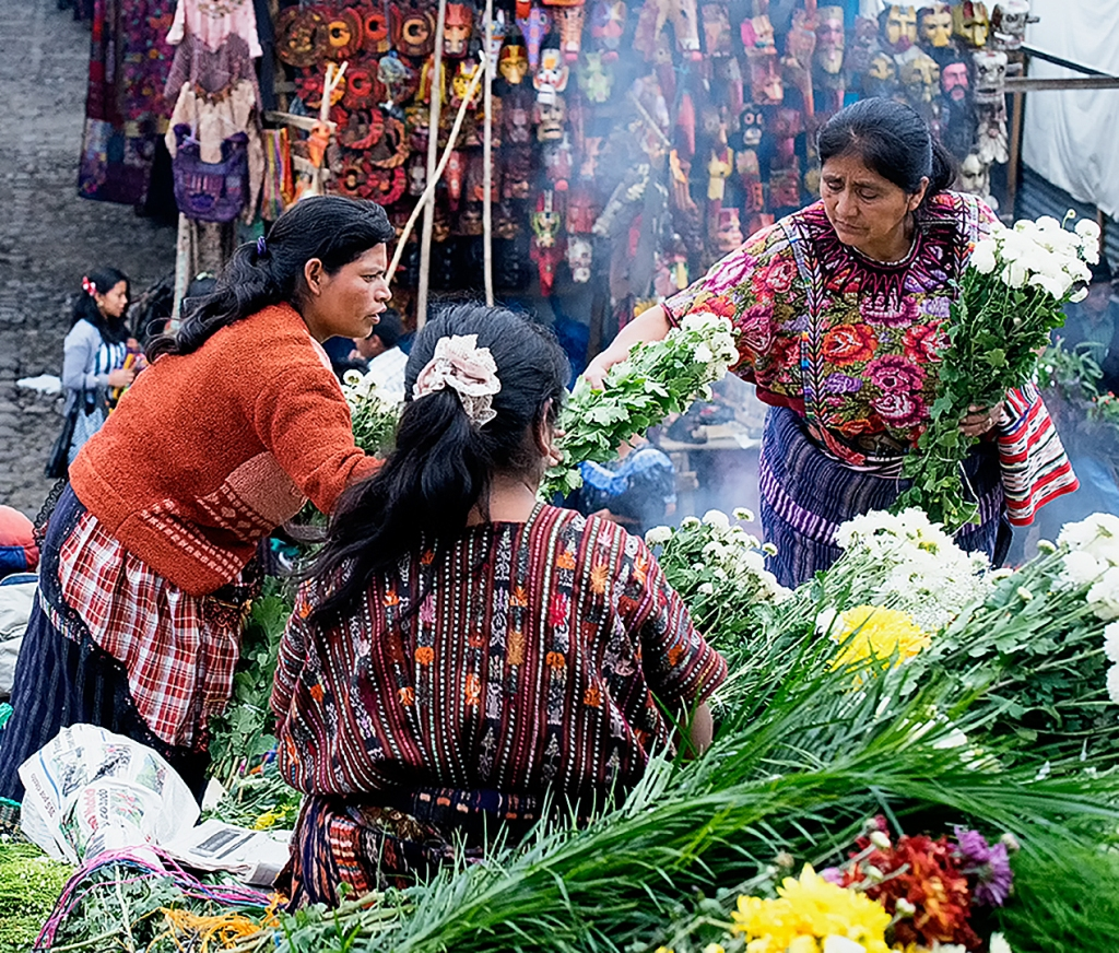 Flower seller at the market in Chichicastenango