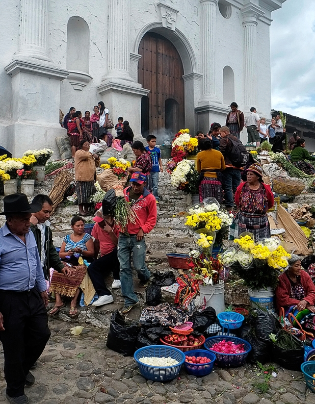 Chichicastenango market day on the stairs to San Tomás church