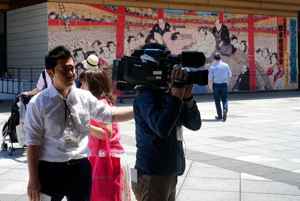 The first day of the sumo wrestling is great media event