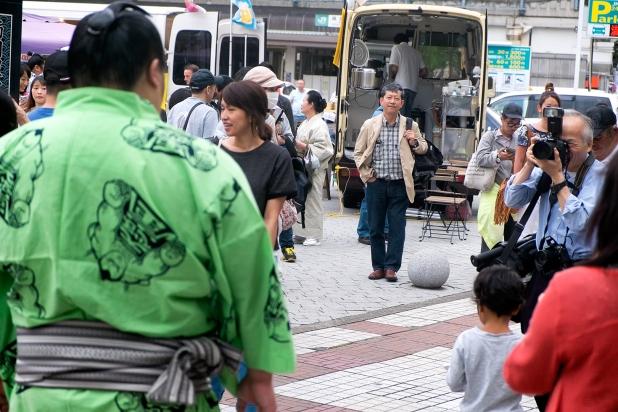 Press photographer are hunting sumo wrestler stars