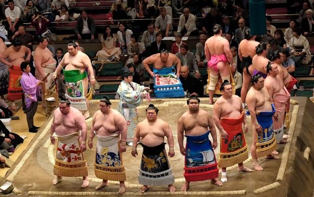 Sumo wrestlers entrance