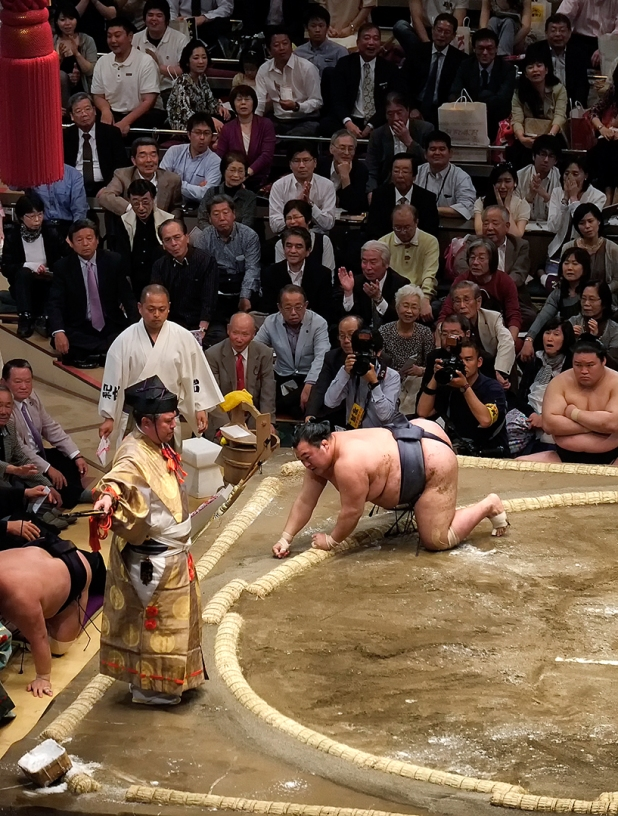 Sumo wrestler out of the ring!