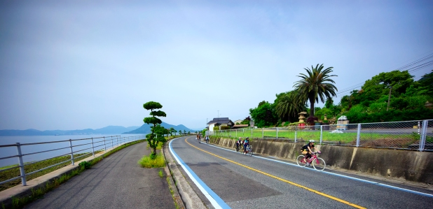 Cyclists on their way to Tatara Bridge