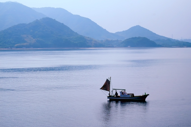 Fishing boat near Tatara bridge